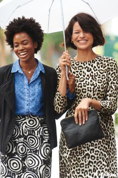 How to wear an all-over pattern: Look for items in classic shapes, like a pencil skirt or shift dress. Keep your color scheme simple and opt for minimalist accessories.