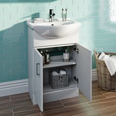 Orchard Eden white floorstanding vanity unit and ceramic basin White Vanity Unit, Vanity Units, Chrome Handles, White Furniture, Engineered Wood, Basin, Cleaning Wipes, The Unit, Storage