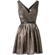 Saint Laurent gold, silver and black lamé dress (12.680 BRL) ❤ liked on Polyvore featuring dresses, vestidos, short dresses, vestiti, gold dress, sleeveless short dress, leather belts and ruched cocktail dress