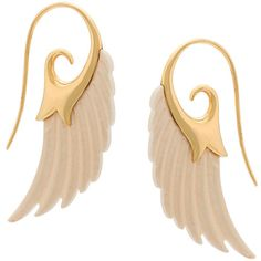 Noor Fares Fly Me to the Moon Earrings ($1,885) ❤ liked on Polyvore featuring jewelry, earrings, gold, gold earrings, yellow gold jewelry, wing earrings, gold earrings jewelry and 18k gold earrings