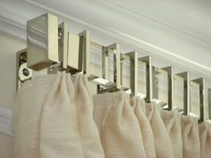 DREAM ROOM - Gretchen Everett Hardware And Home's Rectangular acrylic drapery rod with nickel finials, brackets and rings. Why have boring hardware when you can have something special? Curtain Rods, Cool Curtains, Drapery Hardware, Double Rod Curtains, Magnetic Curtain Rods, Curtains, Window Coverings, Curtain Decor, Magnetic Curtain