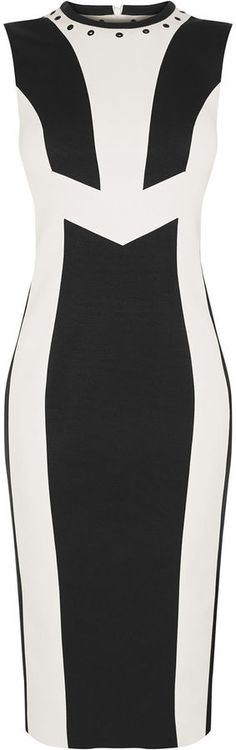 Love this Karen Millen Body Con Black and White Block Dress with the longer length than many of their Body Con Dresses, and super flattering Chevron shape at the waist, and short cap sleeves to streamline your upper body. £199.00 from Karen Millen. #bodycon #fashionista #blogger #ladiesday #ootd #outfitinspiration #fashiononthefield #fotf #affiliate