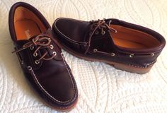 Men's Timberland 3-Eye Classic Lug Boat Shoes Brown Pull-Up Mint condition S~14M #Timberland #Casual