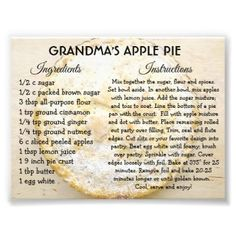 Pumpkin Pie Recipe Card, Pumpkin Pie Recipes, Apple Recipes, Recipe For Apple Pie, Pumpkin Pies, Lemon Recipes, Strawberry Recipes, Old Recipes, Vintage Recipes