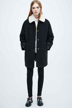 Cooperative - Manteau Borg noir coupe évasée - Urban Outfitters