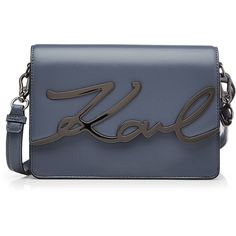Karl Lagerfeld Karl Leather Shoulder Bag (1,550 AED) ❤ liked on Polyvore featuring bags, handbags, shoulder bags, blue, blue purse, metallic handbags, genuine leather shoulder bag, blue handbags and leather shoulder bag