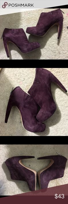 Sam Edelman Gorgeous wine suede booties These pictures speak for themself.. the color is APSOLUTELY To die for , admire .. Deep wine and the real suede enhances it heel just under 4 in..... 6 1/2 Sam Edelman Shoes Ankle Boots & Booties