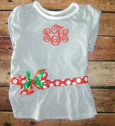 Girls Monogramed Shirt with Accend Ribbon and by BibsandBurps