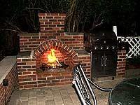 outdoor brick fireplace, outdoor fireplac