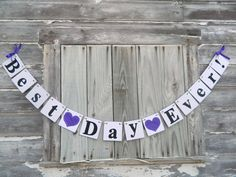 Wedding decorations - Best Day Ever banner - Bridal shower Decor - Wedding photo prop - your color choice