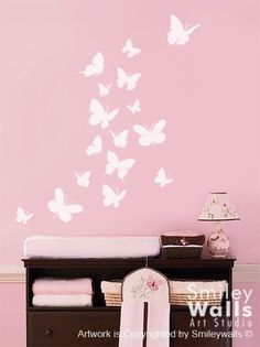 Decorate A Little Girlu0027s Bedroom, Nursery Or Playroom With These  Butterflies Wall Decals Filled With Vintage Patterns In Shades Of Pink.  Butterfly U2026