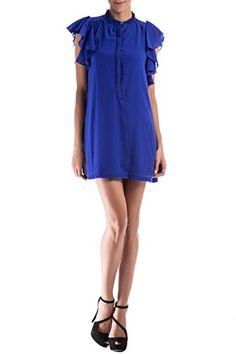 Vestido con volantes en la manga en color azul con escote abotonado Rosarito Azul de Poète @ www.miinto.es