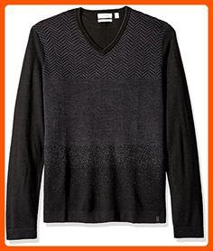 6438ab4885daa2 Calvin Klein Men's Merino Herringbone V-Neck Sweater, Black, Large