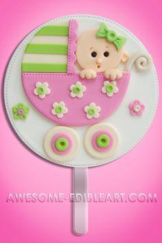 Fondant Cake Topper: Baby Stroller by AwesomeEdibleArt on Etsy