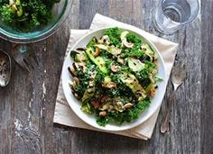 #SexyShredRecipes Grilled Zucchini Ribbon and Kale Salad Recipe | Use raw honey and an approved cheese.
