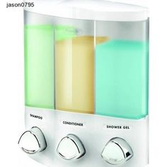 Bathroom Soaps Euro Series TRIO Three Chamber Soap and Shower Dispenser, White