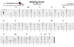 Amazing Grace: chords-melody guitar tablature