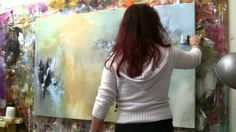"""4-13-12  Abstract acrylic painting Demo - Abstrakte Malerei """"Windgeflüster"""" by Za..."""