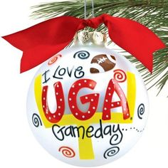 Georgia Bulldogs Silver Gameday Christmas Ornament