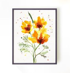Watercolor painting California poppy #2. Floral art, Botanical art, Apartment decor, Wall Decor, Home decor Yellow 8x10 Buy 2 Get 1 FREE