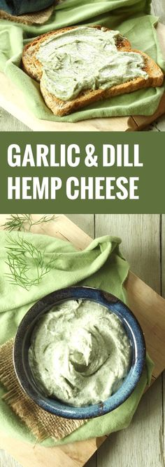 This luxurious and spreadable vegan hemp cheese is made from creamy blended hemp seeds and flavored with zippy garlic and fresh dill. Vegan Cheese Recipes, Vegan Sauces, Vegan Foods, Vegan Dishes, Vegan Desserts, Raw Food Recipes, Cooking Recipes, Healthy Recipes, Dill Recipes