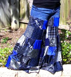 Bell Bottom Jeans Patchwork Palazzo Pants by HippieTrunkShow