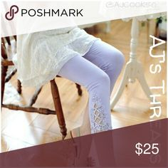 """• Just In • Purple Capri Lace Leggings Capri lace leggings with lace detail on the bottoms. Material: Cotton blend Sizing: OSFM Length: 25.5"""" Waist: 22.5"""" - 37"""" Hips: 25"""" - 41"""" 🛍Bundle and save 10% 🎁Free gift with purchase over Pants Leggings"""