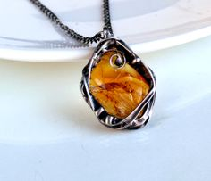 Wire Sculpted Amber Glass Necklace - OOAK. Starting at $5 on Tophatter.com!
