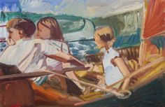 'Look Out, Another Boat!' 2015 oil on wood, Arthur Ransome, Swallows And Amazons, Painting & Drawing, Boat, Drawings, Paintings, Dinghy, Paint, Painting Art