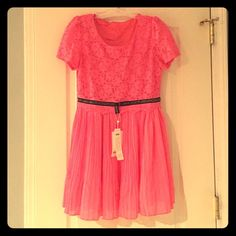 Lace Dress Super cute dress with lace pattern on the top and chiffon shirt. Never worn and in excellent condition. NA Dresses Mini