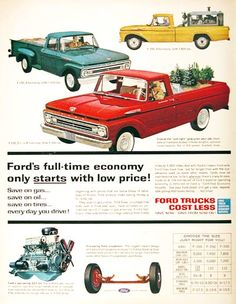 1962 Ford Pickup Trucks original vintage advertisement. Featuring the F-100, F-250 and F-350 models. Choose the just right pickup for your job. Styleside or Flareside bodies in three lengths, optional transmissions, six or V-8 power, 4-wheel drive. Save on gas, save on oil, save on tires, save every day you drive!