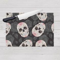 Glass Cutting Board Sugar Skull Design by InkandRags on Etsy