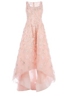 Oscar De La Renta Floral Embellished Evening Gown in Pink (floral)
