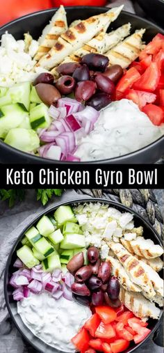 This healthy Keto Chicken Gyro Bowl is a low carb recipe that makes a great lunch or dinner idea. A Greek marinade gives the grilled chicken it's flavor and it is tossed with olives, feta, tomato, and cucumbers. It's served with tzatziki sauce as the dres Ketogenic Recipes, Low Carb Recipes, Diet Recipes, Healthy Recipes, Dessert Recipes, Salad Recipes, Breakfast Recipes, Chili Recipes, Salads