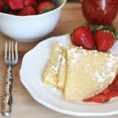 Strawberry Crepes- with printable basic crepe recipe.  Perfect breakfast food.
