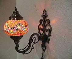 Orange mosaic glass sconce lamp wall lamp lampe by meryemart Turkish Lights, Moroccan Lanterns, Wall Lights, Ceiling Lights, Outdoor Lamps, Mosaic Glass, Lamp Light, Wall Sconces, Chandelier