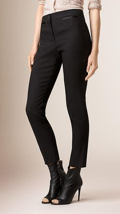Black Slim Fit Tailored Tuxedo Trousers - Image 1