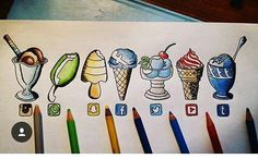 Instagram, WhatsApp, Snapchat, Facebook, Twitter, YouTube & Tumblr [as ice cream] (Drawing by Unknown) #SocialMedia