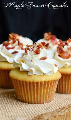 Maple Bacon Cupcakes. Soft maple cupcakes with a hint of bacon topped with maple buttercream frosting, crispy bacon bits and a touch of maple syrup. | from willcookforsmiles.com