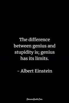 60 Motivational Quotes For Success and Life - Genius Meme - The difference between genius and stupidity is; genius has its limits. Albert Einstein The post 60 Motivational Quotes For Success and Life appeared first on Gag Dad. Quotable Quotes, Wisdom Quotes, True Quotes, Words Quotes, Wise Words, Funny Quotes, Sayings, Happiness Quotes, Motivational Quotes For Depression