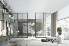 The room divider. With wired glass.