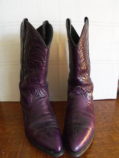 Vintage Cowgirl LEATHER Boots Purple by SusieQsVintageShop on Etsy, $42.00 SOLD