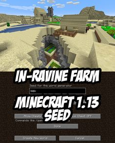 Villagers Farming in a Ravine - Minecraft (Java) Seed:kidx