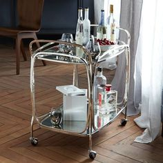 Foxed Mirror Bar Cart | West Elm