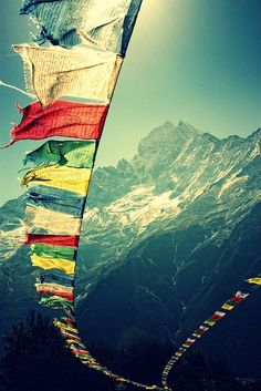 This is a picture of Tibet. It shows the scenery of Tibet with the religious flags and the snow mountains