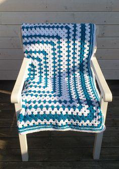 Handmade Shabby Chic Retro Crochet Blanket: Santorini #cosy #white #blue #hygge #homemade #throw #farmhouse #coastal #HomeDecor #GrannySquare Outdoor Chairs, Outdoor Decor, Crochet Fashion, Hygge, Santorini, Decorating Your Home, Cosy, Coastal, Shabby Chic