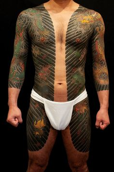 Japanese bodysuit tattoo, by Horitoshi