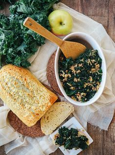 Sweet Braised Kale with Apples and Nuts - used soya sauce, apple chucks, balsamic vinegar, brown sugar