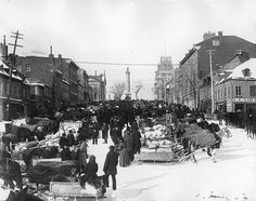 Market day, Jacques Cartier Square, Montreal, QC, about 1890, via Flickr.