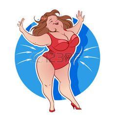 persone grasse fumetti: Donna grassa in biancheria intima dimagrante Vettoriali